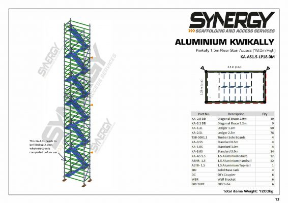 Aluminium Kwikally Riser Stair Access