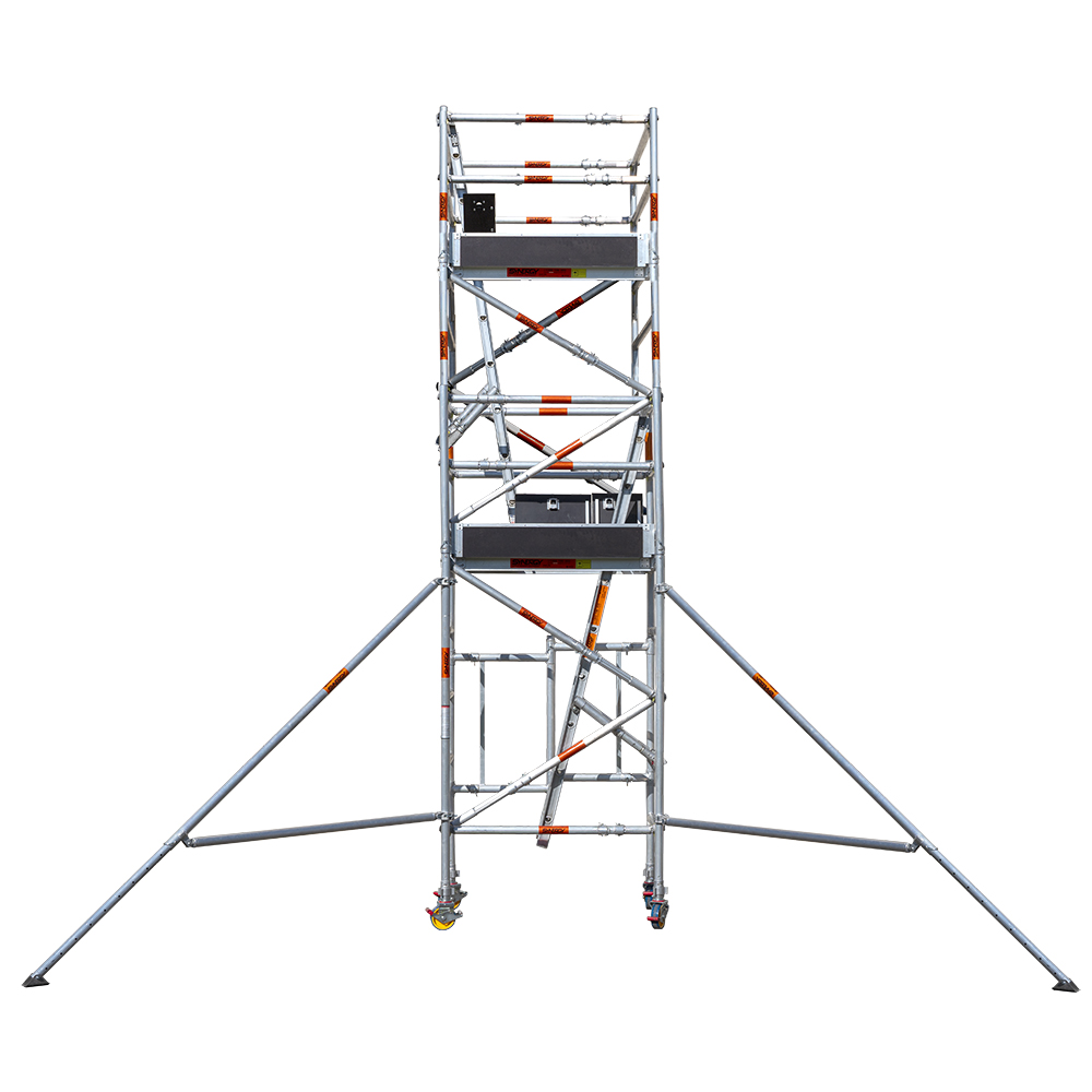 Aluminium Foldable Extendable Narrow Scaffold 4.2m (Height) 1.2m - 2.0m (Scaffold Length)