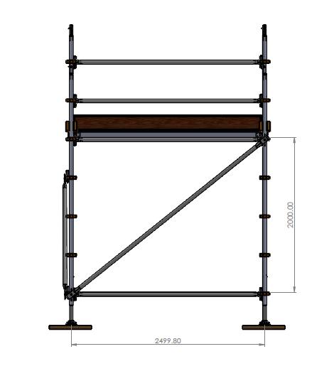 Aluminium Kwikally Modular Scaffold System 2.5m (Scaffold Length) x 2m (Height)