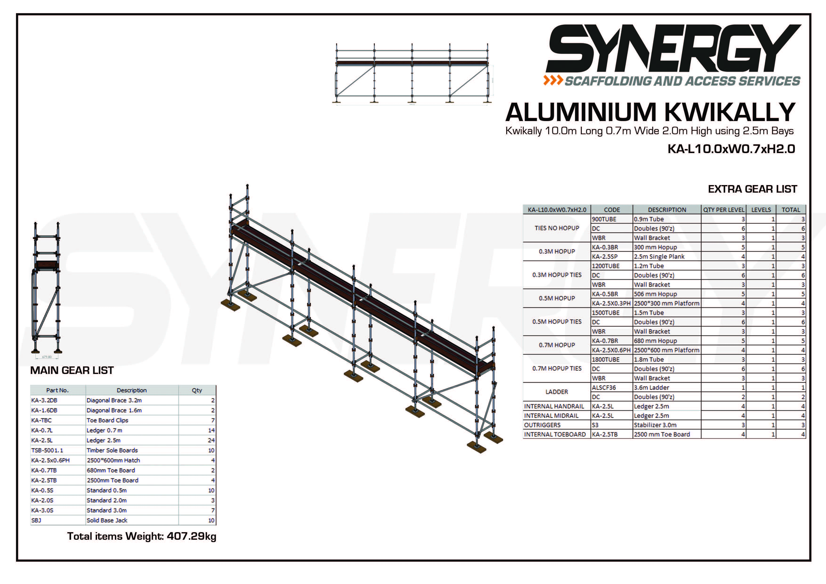 Aluminium Kwikally Modular Scaffold System 10m (Scaffold Length) x 4m (Height)