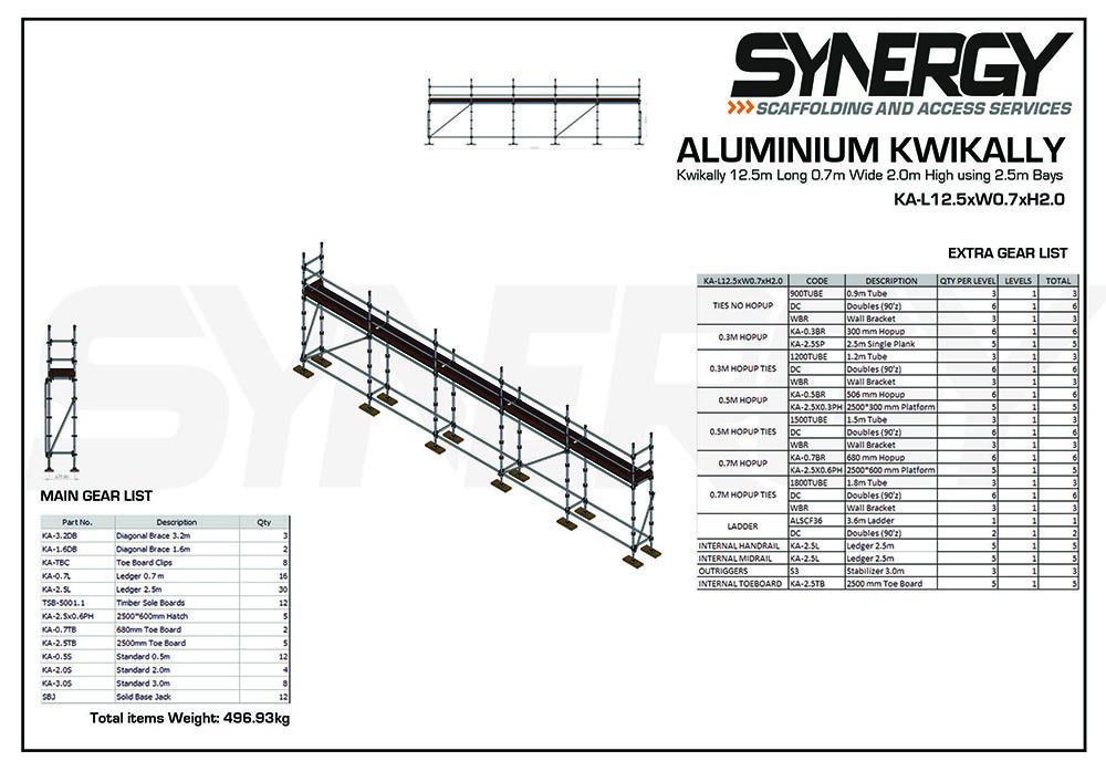 Aluminium Kwikally Modular Scaffold System 12.5m (Scaffold Length) x 2m (Height)