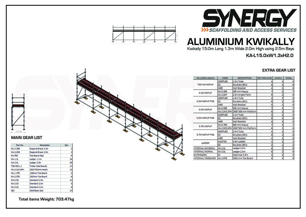 Aluminium Kwikally Modular Scaffold System 15m (Scaffold Length) x 5m (Height)