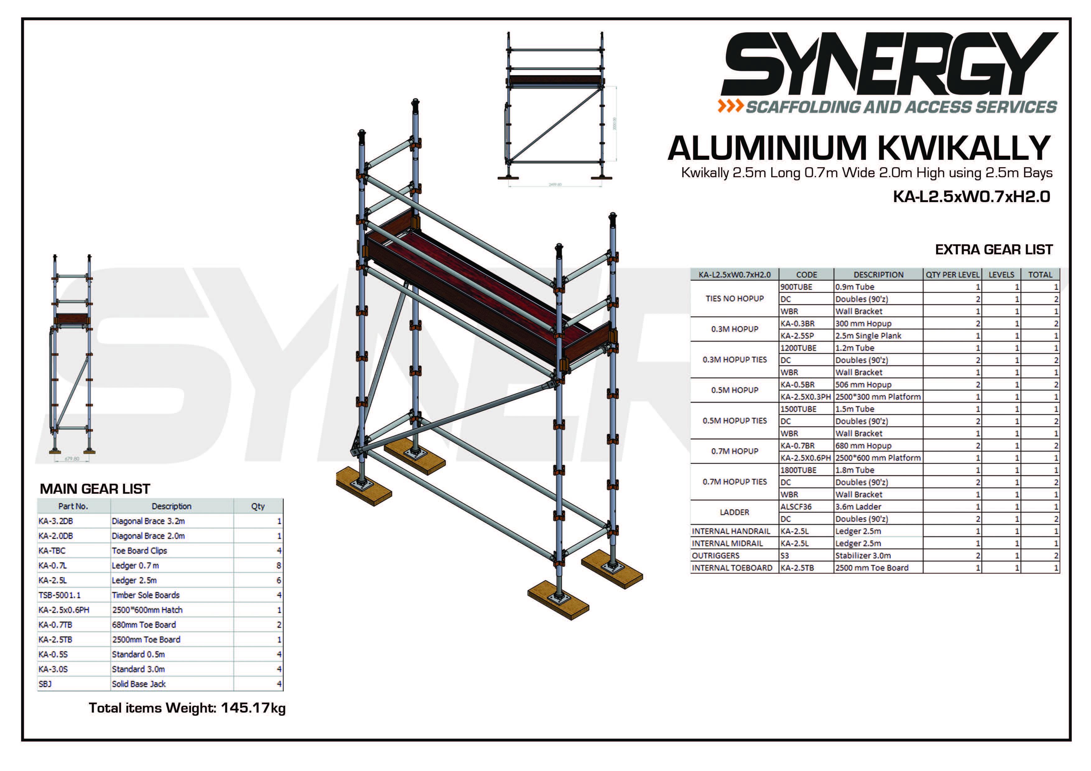 Aluminium Kwikally Modular Scaffold System 2.5m (Scaffold Length) x 5m (Height)