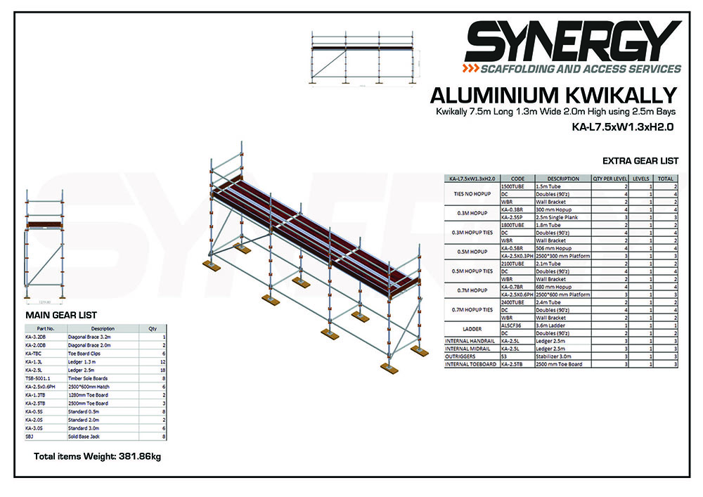 Aluminium Kwikally Modular Scaffold System 7.5m (Scaffold Length) x 4m (Height)